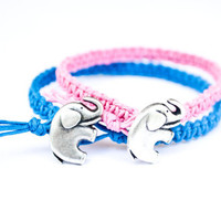 Elephant Friendship or Couples Bracelets Blue and Pink