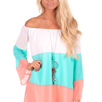 Ivory, Mint, and Coral Blocked Shift Dress