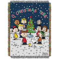 Peanuts Charlie Brown Xmas  Triple Woven Jacquard Throw (48x60)
