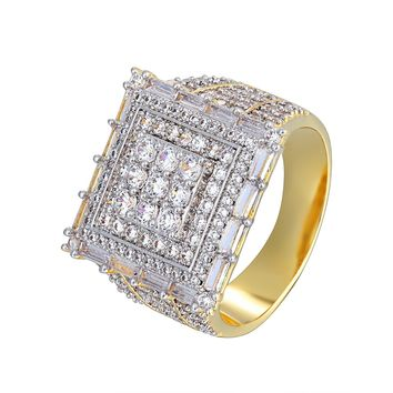 Solitaire Men's Designer Iced Out Square Baguette Custom Ring