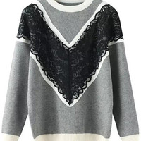 Grey Lace Embroidered Knit Long Sleeve Sweater