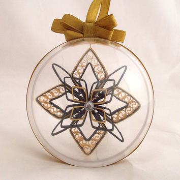 black and gold christmas snowflake in a clear ball, paper snowflake, custom christmas snowflake, snowflake ornament, 3d snowflake,