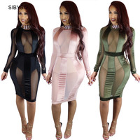 Sexy Bodycon Dress 2017  New Black Mesh Striped Patchwork Long Sleeve See Through Night Club Wear Vestidos Bandage Party Dresses