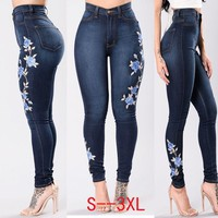 brand Embroidery Jeans WOMEN High Waist Skinny Jeans Plus Size 3XL Winter Denim Pencil Pant Cotton Denim slim Trousers for woman