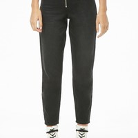 Zippered High-Rise Jeans