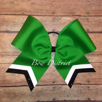"3"" Kelly Emerald Green Team Cheer Bow with White Glitter and Black Glitter Tail Stripes"
