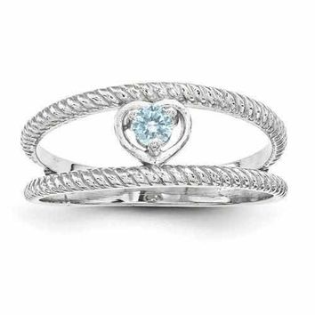 Sterling Silver Mother's Personalized Ring W/ Synthetic Single Blue Stone
