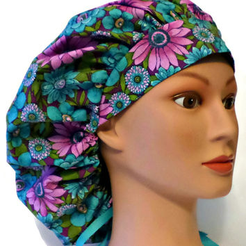 Women's Bouffant, Pixie, or Ponytail Surgical Scrub Hat Cap in Purple Flowers