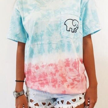 Women Cute Multicolor Elephant Print Tie Dye Shirt Top Tee
