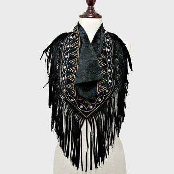 3-Way Aztec Day of the Dead Suede Fringe Scarf