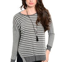 Long Sleeve Lightweight Striped Knit Top