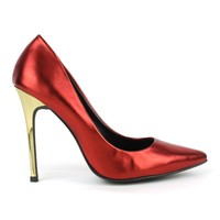 Fahrenheit Nicholas-05 Metallic Single Sole Pumps in Raseberry @ ippolitan.com