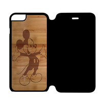 Mickey Mouse Wooden iPhone 6 Flip Case Cover