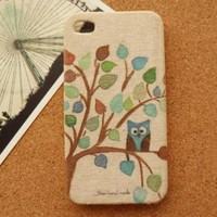 Cute Owl Fabric Phone Case by Pomelo on Zibbet