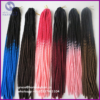 """FREE SHIPPING 5packs/lot 20"""" 95g 20strands per pack two tone ombre color soft dreadlocks pre crochet braided hair"""