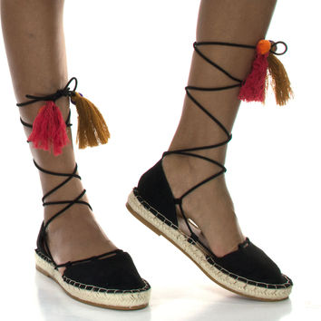 Maldives26S Nude By Bamboo, Women's Espadrille Lace Tie Up Strappy Flat w/ Colorful Fiesta Tassel
