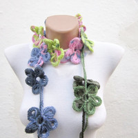 Handmade crochet Lariat Scarf  Green Soft Pink Navy Blue  Flower Lariat Scarf Colorful Variegated Long Necklace Winter Fashion