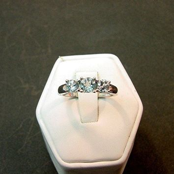 AAA Grade Aquamarine 3 stone ring 10 carat by mastergoldcraft