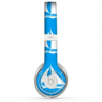 The Blue Vector Sailboats Skin for the Beats by Dre Solo 2 Headphones