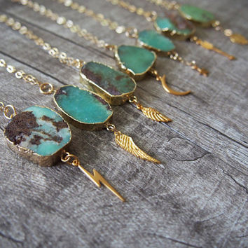 Australia Jade Chunk Necklace Vermeil Golden Wing Star Arrow Charm Necklace Gemstone Gold Filled Necklace