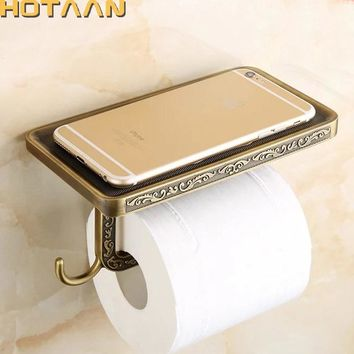 Antique Brass Toilet Paper Holder Bathroom Mobile Holder Toilet Tssue Paper Roll Holder Bathroom Storage Rrack Accessory YT-1492