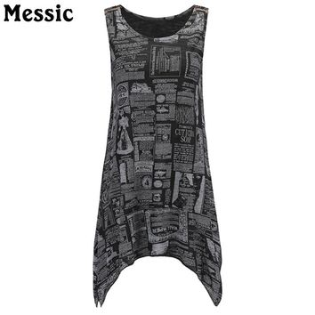 Messic New Fashion Letter Newspaper Print Shirts Women Tee Tops 2018 Casual Summer Sleeveless Tank Top Floral Vest Long Tunics