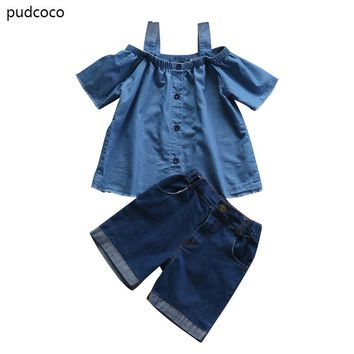 Mom Daughter Family Matching Clothes Set Women Baby Girls Kids Outfits Off Shoulder Tops Denim Pants 2pcs Summer Clothing Set