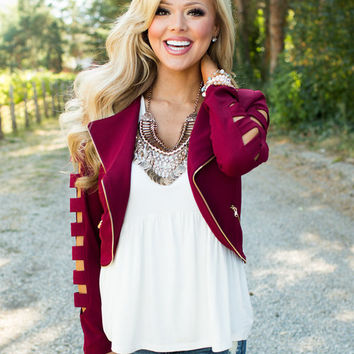 My Style Cutout Jacket Burgundy