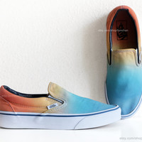 Vintage Vans slip-on skate shoes, upcycled with a sky blue to sunny orange ombre dip dye, casual sneakers, size 39 (UK 6, US Wo 8.5, -Men 7)