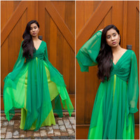 For Rental or Purchase Vintage 1970s Shades of Green Chiffon Evening Gown