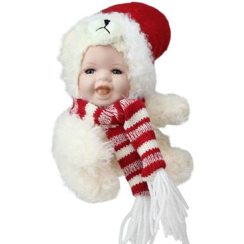 "5.75"" Porcelain Baby in Polar Bear Costume with Santa Hat Collectible Christmas Doll"