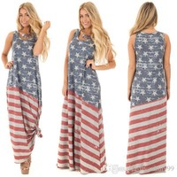 Independence Day womens summer American flag printed dresses fashion ladies maxi party dress oversized skirt plus size clothing S-2XL