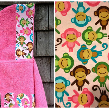 Girls Personalized Hooded Towel Pink with Monkey Fabric Beach Pool Bath Birthday Christmas Holiday Gift Kids Children Toddler