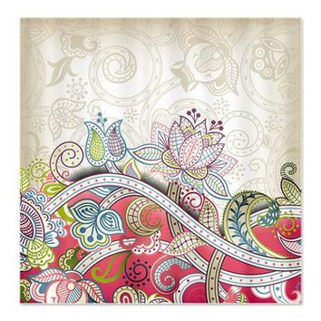 Vintage Floral Pattern Shower Curtain on CafePress.com