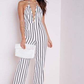 STRIPED HALTERNECK WIDE LEG JUMPSUIT WHITE