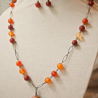 Handmade Red Agate Stone Brick Tan Black Long Pendant Necklace Antiqued Gold Oval Links Chain