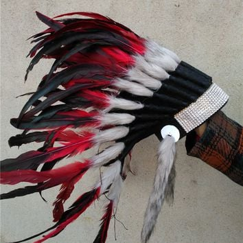 Chief Indian red feather Headdress 21inch Native American costume hade made indian feather costumes War Bonnet