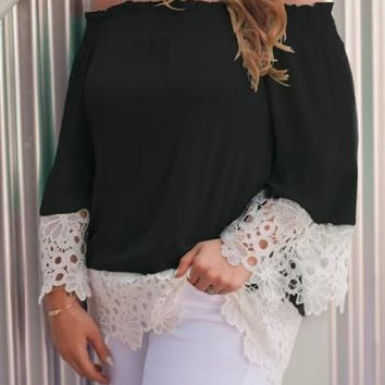 2018 Black Lace Cut Out Off Shoulder Sweet Going out Chiffon Blouse
