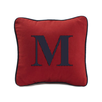 """Red Pillow with Navy Cording (13"""" Square)"""