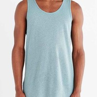 Feathers Long Vent Linen Tank Top- Turquoise