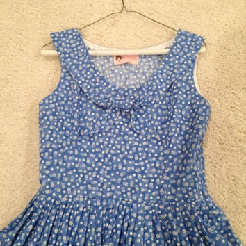 Blue floral inspired sailor dress