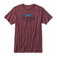Patagonia Men's Fitz Roy Crest Cotton/Poly T-Shirt- Oxblood Red