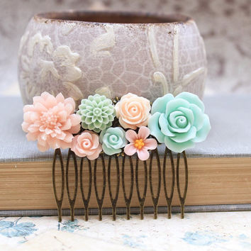 Floral Hair Accessories, Bridal Hair Comb, Wedding Accessories, Mint Rose, Aqua Dahlia, Peach Rose, Pink Chrysanthemum, Pastel Daisy Comb