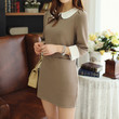 Deep Khaki Lapel Collar Dress