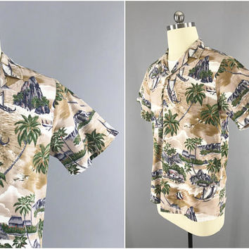 1980s Vintage Hawaiian Shirt / RJC Ltd Made in Hawaii / Magnum PI Shirt / SIze M / 40 - 42 / Outrigger Canoe Polynesian Print / 100% Cotton