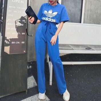 """Adidas"" Women Casual Fashion Letter Logo Print Short Sleeve High Waist Wide Leg Pants Trousers Set Two-Piece Sportswear"