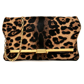 Leopard Pony Hair PM Clutch