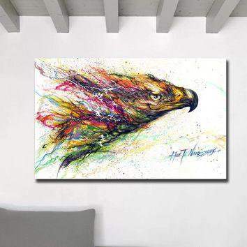Fashion Huge Graffiti Art Paintings Print On Canvas HD Abstract The Flying Eagle Canvas Painting Office Wall Art Home Decor