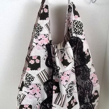 FOLDBAG // Eco Friendly Lunch Bag - Spring Patchwork Print w black lace ruffle ribbon and hook | reusable shopping bag, reusable grocery bag