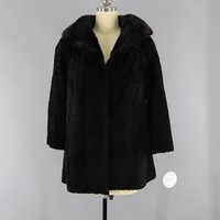 Vintage 1950s-1960s Curly Lamb Fur Coat with Mink Collar